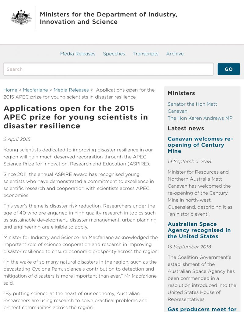 Media Release: Applications open for the 2015 APEC prize for young scientists in disaster resilience